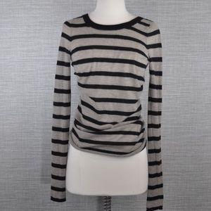 Enza Costa Beige/Black Stripe Cashmere Sweater - S